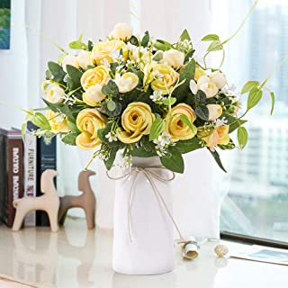 YUYAO Artificial Flowers Rose Bouquets with Vase Fake Silk Flower with Ceramic Vase Modern Bridal Flowers for Wedding Home Table Office Party Patio Decoration (Yellow)