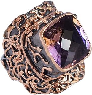 Ravishing Impressions Jewellery Anillo solitario de plata de ley 925, chapado en rodio y oro rosa