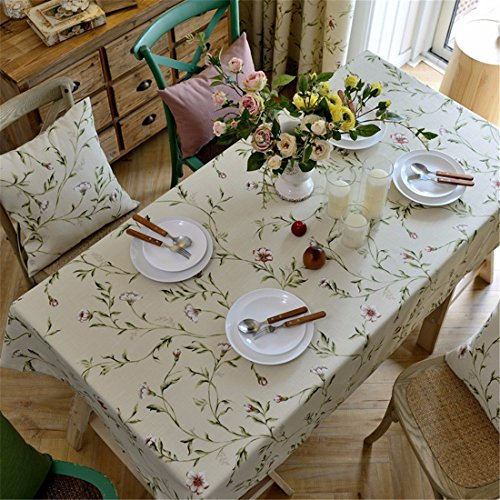 HXC Home beige bloemmotief tafelkleed, tafelkleed, katoen, linnen, Frans eettafel, rechthoekig, vierkant, niet strijken, milieuvriendelijke tuin