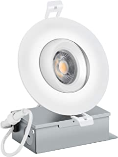 (1 Pack) NICKLED 4inch Gimbal Recessed LED Downlight with IC Rated Junction Box, 12W (100W Equivalent), 3000K Warm White, 1000lm,120V, Adjustable LED Retrofit Lighting Fixture, 5 YEARS WARRANTY