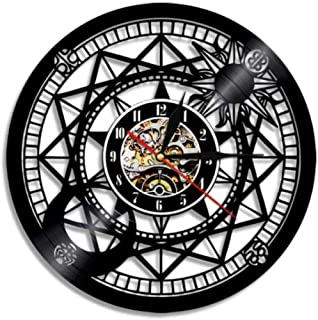 wffang Jupiter Wall Clock Vinyl Home Decor Sun and Moon Retro Star Vinyl Record Clock Cosmographical Clock Astrology Gifts 30X30Cm
