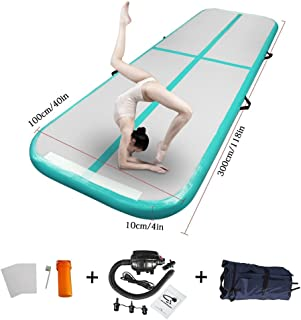86 York 10ft Inflatable Gymnastics Air Track Tumbling Mat with Electric Pump for Home Use/Training/Cheer Leading/Beach/Park Water/Parkour Light Green