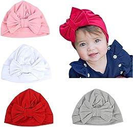 4pcs Bandeau Cheveux bébé Fille Coton Doux Bonnet