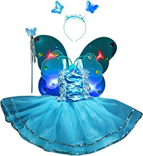 4PCS Girls Performance Dress Led Flashing light Up Fairy Butterfly Wings wand Headband Costume Dress-Up Toy, Perfect for Kids