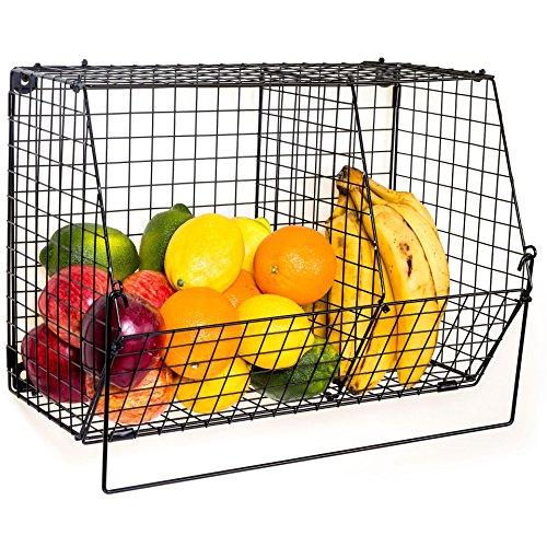 ChasBete Panier de Fruits et Legumes, Panier Coulissant Decoration Cuisine, Etagere Placard Metal Mural Avec S Crochets
