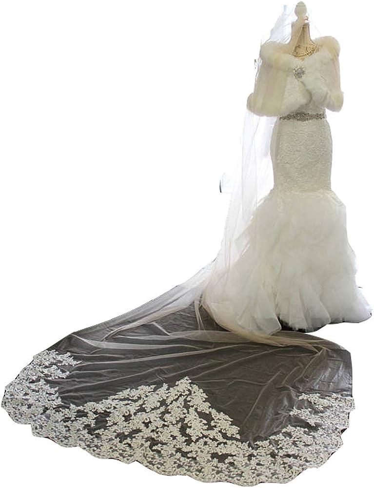 Michealboy 1 Layers Long Bridal Veil Wedding M/4M with Comb Lace Edge Bachelorette