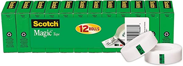 Scotch Magic Tape, 12 Rolls, Numerous Applications, Invisible, Engineered for Repairing, 3/4 x 1000 Inches, Boxed (810K12)