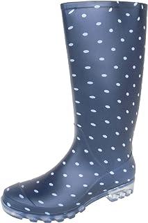 長靴 雨靴 完全防水 レインシューズ ドット 水玉 ロング ガーデニング アウトドア カラフル 通勤 2色 レディース