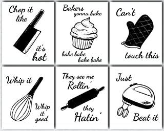 L & O Goods Funny Kitchen Wall Art | Farmhouse Rustic or Modern Home & Kitchen Decor | Theme Set Decorations | Artwork Pictures for Dining Room and Kitchen | Set of Six Posters 8 x 10