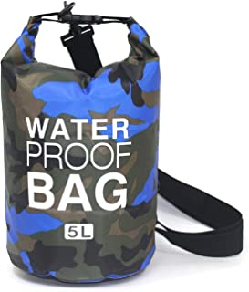 I'll NEVER BE HER 2/5/10/15L Outdoor Camouflage Waterproof Dry Bags Portable Rafting Diving Dry Bag Sack PVC Swimming Bags for River Trekking,5L Blue