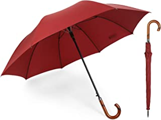 Oversize Umbrella Windproof Wooden Hook Handle Automatic Open Stick Fast Drying Umbrella for Men Women (Red)