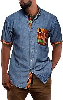 Mens African Dashiki Short Sleeve Shirt Chambray Denim Tribal Buttoned Down Collar Casual Shirts