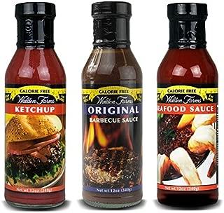 Walden Farms Calorie Free Ketchup Calorie Free, Fat, Carbs, Gluten or Sugar Pack of 3 ( Ketchup -Seafood Sauce & Original BBQ Sauce )