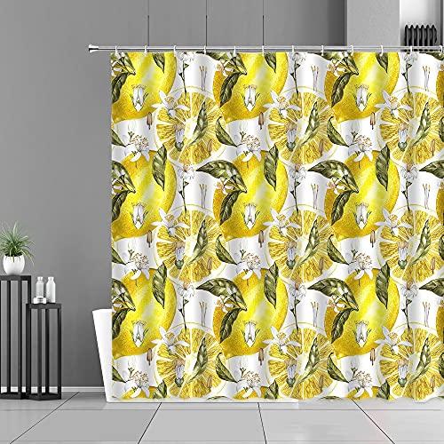 XCBN Cortinas de Cocina con patrón de Frutas, Estampado de piña y limón, decoración del hogar, Pantalla, Cortina de Ducha Impermeable A5 150x180cm