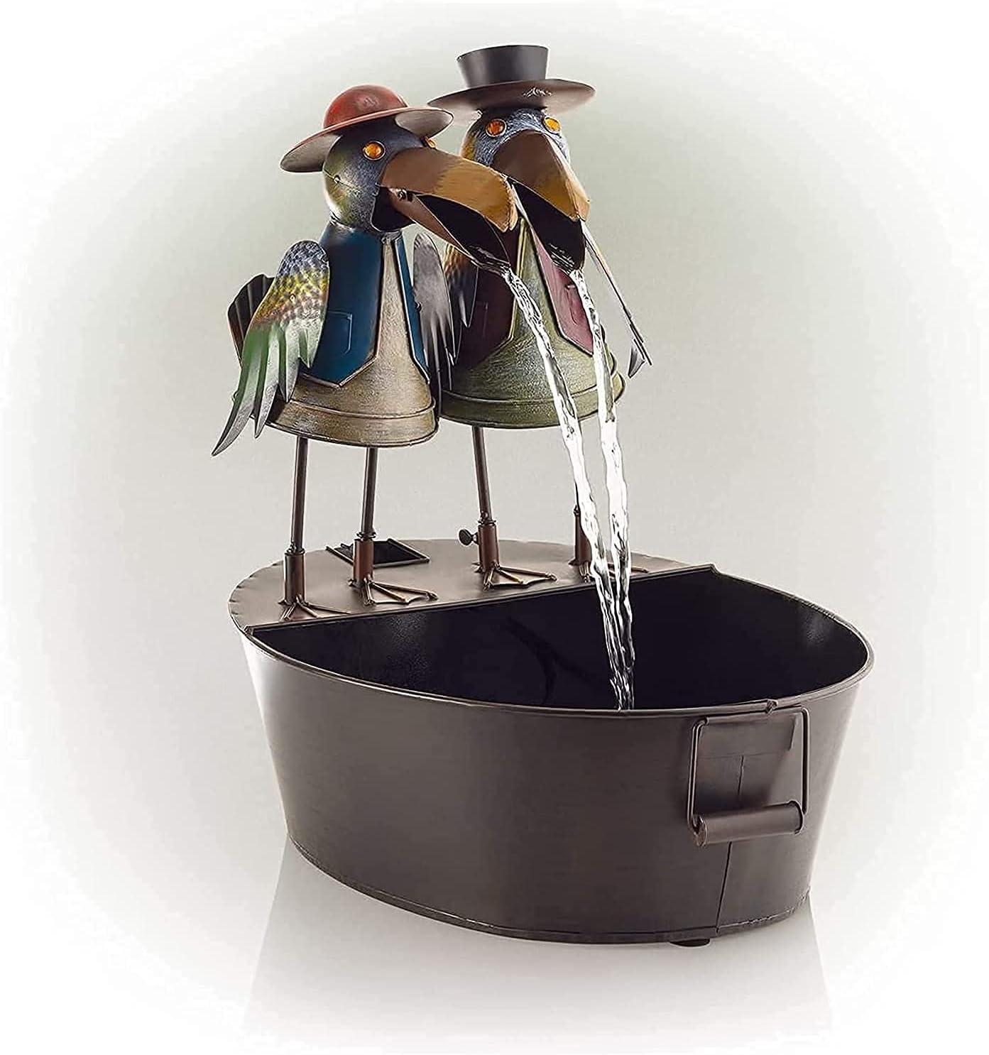 Metal Owl Chicken Crow Fountain Yard Water Art Los Angeles Mall Decor Founta Many popular brands