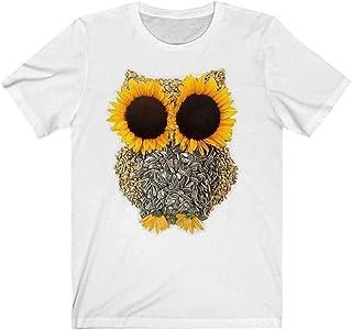 TIFIY t-Shirt da Donna con Stampa Gufo di Girasole Magliette Casual a Manica Corta con Scollo a o Abbigliamento Elegante C...
