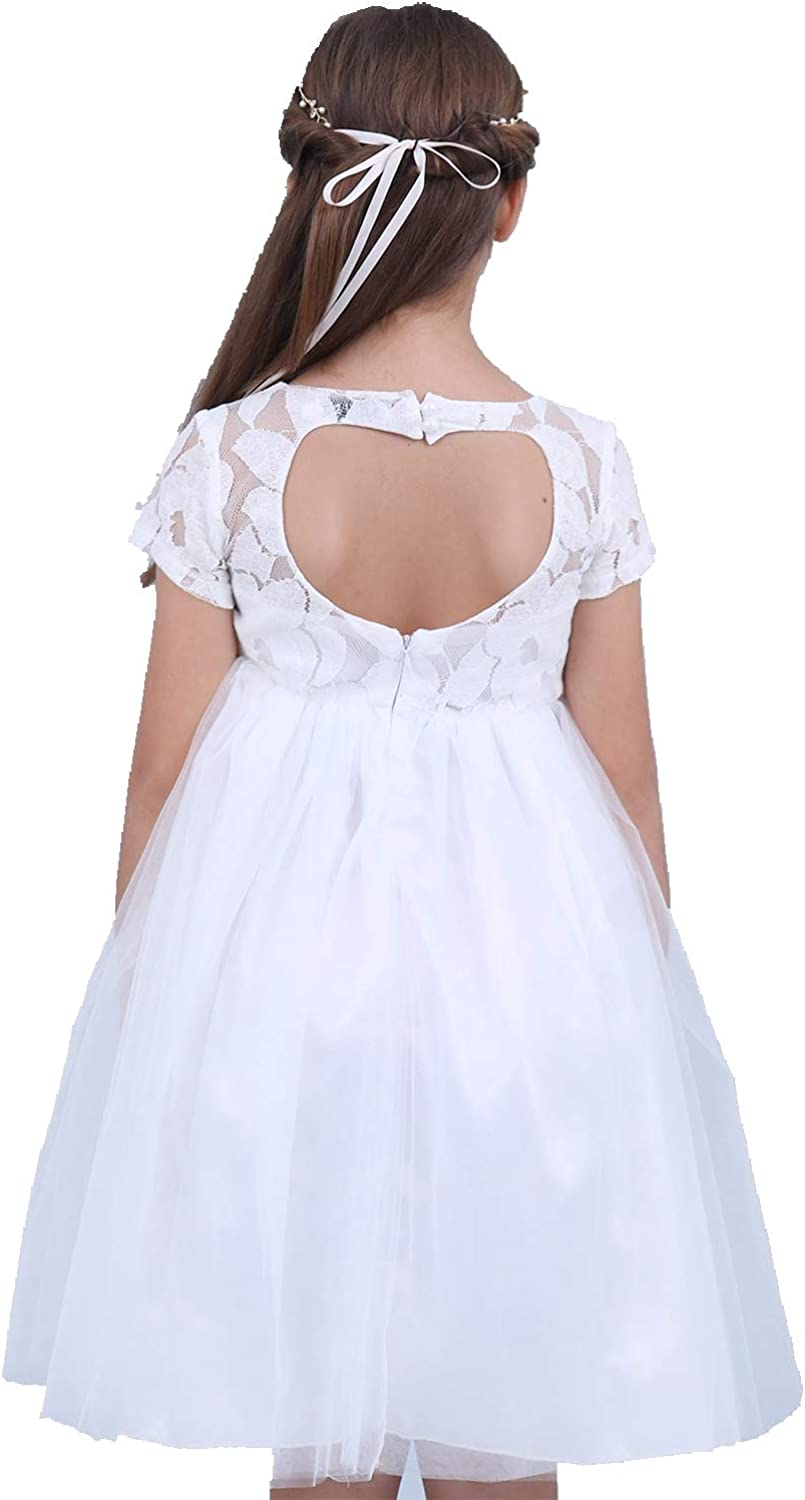 MSemis Flower Girl Lace Dress Heart Back Wedding Party Formal Kommunions Dresses Ball Gown