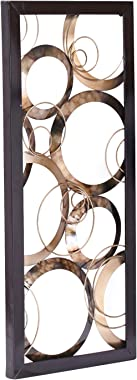 Adeco Modern Wall Sculpture Decorative Wall Hanging Art Aesthetic, Metal Abstract Floating Circles and Rectangle Frame, for L