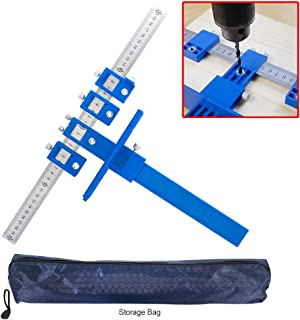 Cabinet Hardware Jig Template, Punch Locator Tool, Drawer Hole Locator Drill Guide Template Wood Drilling Dowelling for Installation Of Handles, Knobs on Doors and Drawer Pull, Inch and Metric