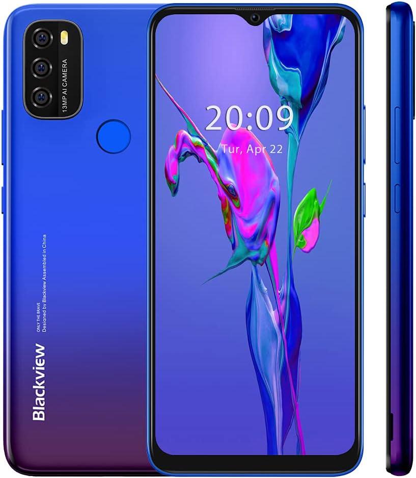 Blackview A70 2021 Handy ohne Vertrag Ggünstig, Android 11 Smartphone, 6,517 Zoll HD + Display, 3GB+32GB, 5380 mAh Akku,13MP+5MP Kamera, Dual SIM…