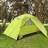 Bessport Camping Tente 2 Personnes Ultra Légère Facile à Installer Tentes Dôme Double Couche Tente 4 Saison Imperméable, Ventilée pour Pique-Nique, Randonnée, Camping (Green)