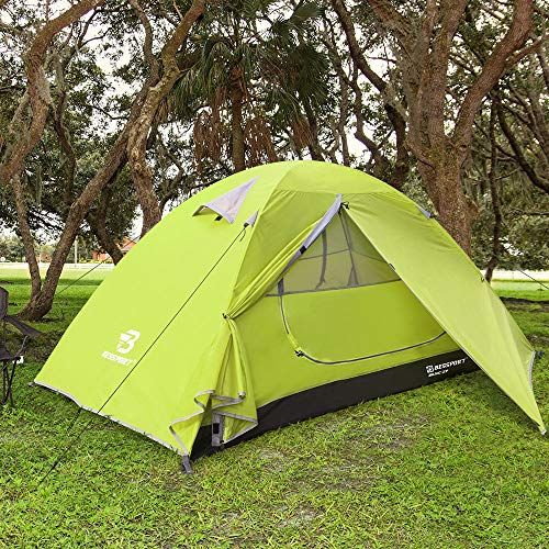 Bessport Camping Tent 2-Person Lightweight Backpacking Tent Waterproof Two Doors Easy Setup Tent for Outdoor, Hiking Mountaineering Travel (Green)