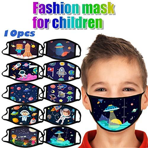 Likecrazy 10 Stück Kinder Mundschutz mit Motiv Natürliche Astronauten Baumwolle Mundschutz Mundbedeckung für Jungen und Mädchen