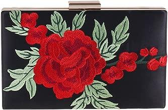 Womens Floral Leaf Embroidered Satin Evening Clutch Vintage Formal Party Handbag Purse