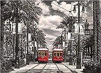 アートブラシとキャンバス数字による塗装キットDIYの子供用大人用オイルアクリル塗装キット(40cmX50cm / 16インチx 20インチフレームレス)-ニューオーリンズの路面電車の写真