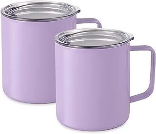 Maars Drinkware 79710-2PK Townie Stainless Steel Insulated Coffee Mug Double Wall Vacuum Sealed Tumbler-14 oz, 2 Pack, Lavender