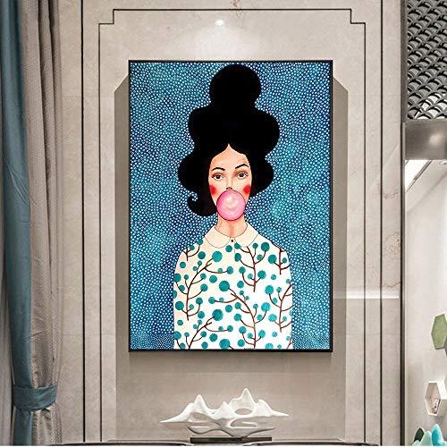 Geiqianjiumai Nordic portret schilderij op canvas muur poster en prints meisje met ballon muurschildering kunst muur foto woonkamer decoratie frameless schilderij