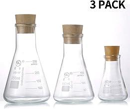 Yizerel - Juego de petacas de cristal de borosilicato graduado (250 ml, 150 ml y 50 ml) con tapones de goma y escamas precisas para laboratorio, experimento, química, estudios científicos, etc.