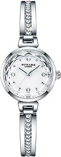 ساعة يد Clastyle للنساء فضية مرصعة بأحجار الراين، ساعات يد أنيقة من الفولاذ المقاوم للصدأ (اللون: فضي)