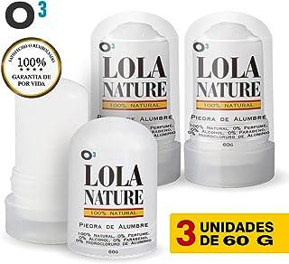 O³ Piedra De Alumbre Lola Nature - 3 Unidades * 60 g 100%