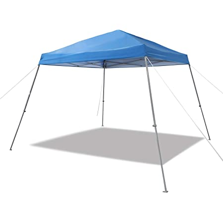 Amazon Basics Outdoor Pop Up Canopy, 8ft x 8ft Top Slant Leg with Wheeled Carry, Blue