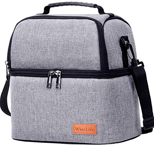 WiseLife Insulated Lunch Bag for Men Women Adult Lunch Box Cooler with Strap 2 Compartments, Leakproof Waterproof Large Thermal Lunch Cooler Tote Food Bag for Work School Picnic Camping Fishing (Grey)