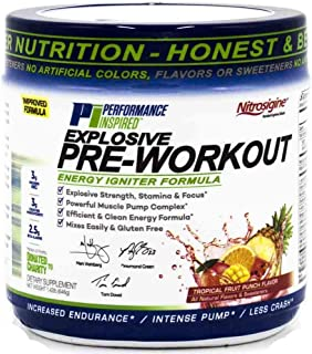 Sponsored Ad - Performance Inspired Nutrition Explosive Pre-Workout, Tropical Fruit Punch, 1.49 Lb - Style #: Prepun