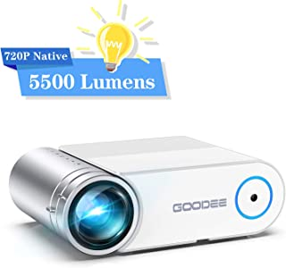 "Projector, GooDee 2020 Upgrade G500 Mini Video Projector with 5500 Lux, Max 200"" Portable Movie Projector with Carry Bag, Home Theater Projector Support 1080P, Compatible with Fire Stick, PS4, Phone"