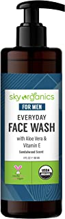 Everyday Face Wash for Men by Sky Organics (6 fl oz) USDA Organic Daily Face Cleanser with Aloe Vera & Vitamin E for All S...
