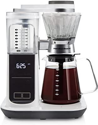 Hamilton Beach Craft Programmable Automatic Coffee Maker Brewer or Manual Pour Over Dripper with 5 Strengths and Integrated Scale, 8 Cups, Includes Cone Filter Set, White (46700)