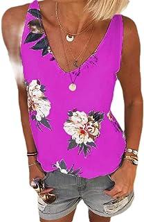 Zimaes Women Floral Print V Neck Oversized Lounge Summer Tank Top Shirt