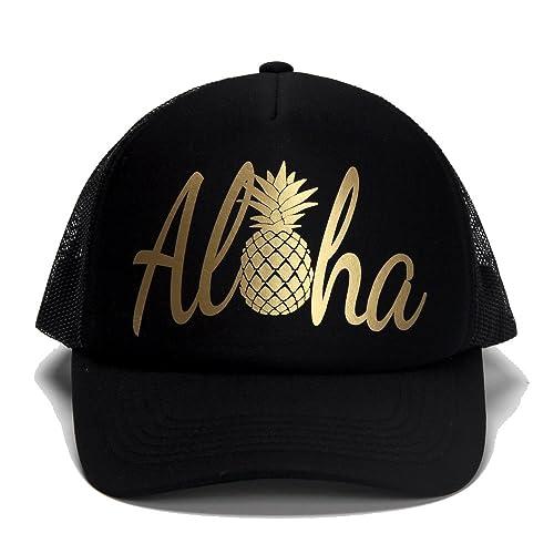 DONGKING Aloha Trucker Cap Premium Quality Silver Gold Logo Print eea3a53644f2
