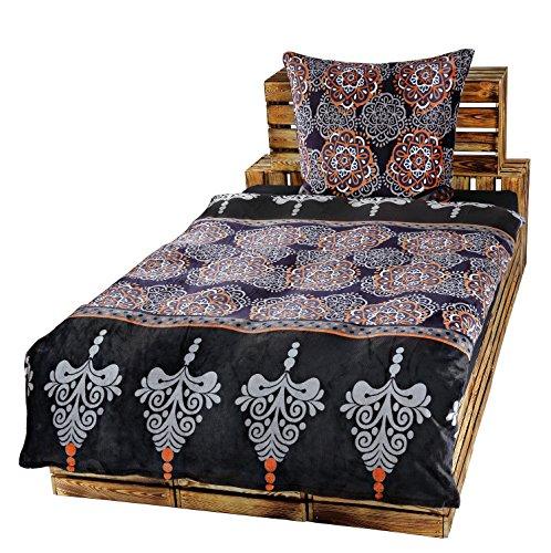 Dresscode 4 Teilige Winter Bettwäsche Set 135 x 200 cm Teddy PLÜSCH Coral Fleece Cashmere Touch Super Soft Ornamente Blau