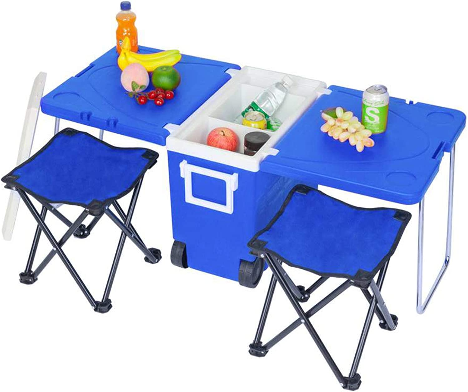 28L Camping Wheeled Coolers & Cool Box  Foldable Outdoor Picnic Table with 2 Stools, MultiFunction Insulated Rolling Cooler Trolley for BBQ, Festivals and Caravans