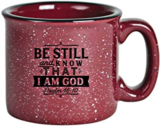 Campfire Ceramic Coffee Mug with Inspiring Quote - Burgundy Speckled Classic Coffee Cup   Holds 15 Ounces   What if you woke up today with only what you Thanked God for yesterday?