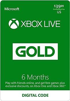 6-Months Microsoft Xbox Live Gold Membership (Digital Code)