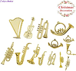 UNVT.MCDWbb 14pcs Mini Gold Musical Instrument for Christmas Tree Hanging Ornaments Xmas Decorations