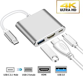 USB C to HDMI Adapter(4K), Proxima Direct 3-in-1 USB 3.1 Type C Hub Multiport Converter and USB C Fast Charging Port Converter Adapter for Apple MacBook iPad Pro Nintendo Switch/Monitor, Silver