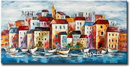 SANSNMI No Frame Handmade Oil Painting On Canvas Modern Seaside Small Town Build Wall Art Painting For Living Room Home De...