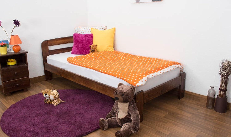Kinderbett   Jugendbett Kiefer Vollholz massiv Nussfarben A5, inkl. Lattenrost - Abmessung 90 x 200 cm